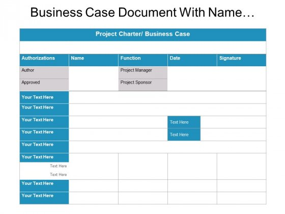 Business Case Document With Name Function And Date Ppt Powerpoint