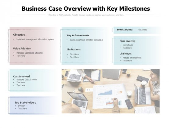 Business Case Overview With Key Milestones Ppt PowerPoint Presentation Show Design Inspiration PDF