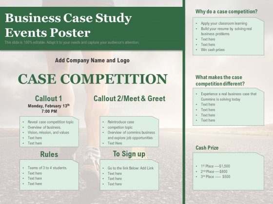 Business Case Study Events Poster Ppt PowerPoint Presentation Gallery Slide Download PDF
