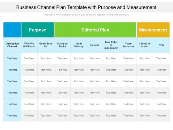 Business Channel Plan Template With Purpose And Measurement Ppt PowerPoint Presentation Gallery Backgrounds PDF
