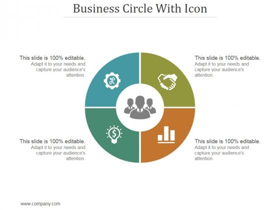 Business Circle With Icon Ppt PowerPoint Presentation Tips