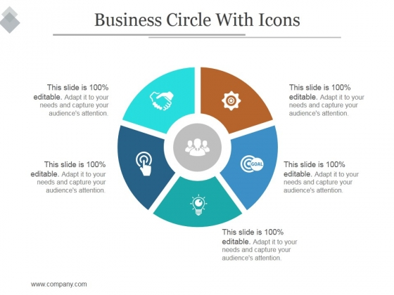 Business Circle With Icons Ppt PowerPoint Presentation Ideas