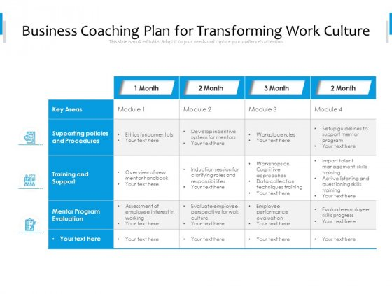 Business_Coaching_Plan_For_Transforming_Work_Culture_Ppt_PowerPoint_Presentation_Gallery_Mockup_PDF_Slide_1
