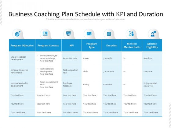 Business_Coaching_Plan_Schedule_With_KPI_And_Duration_Ppt_PowerPoint_Presentation_Gallery_Files_PDF_Slide_1