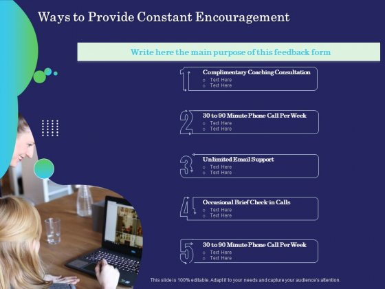 Business Coaching Ways To Provide Constant Encouragement Ppt PowerPoint Presentation Summary Elements PDF