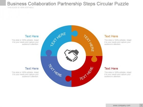 Business Collaboration Partnership Steps Circular Puzzle Ppt