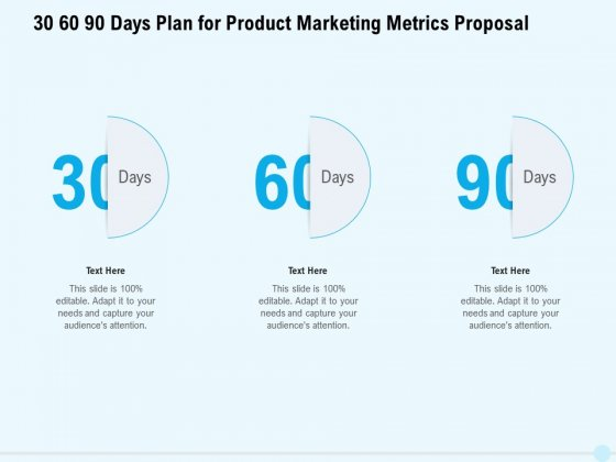 Business Commodity Market KPIS 30 60 90 Days Plan For Product Marketing Metrics Proposal Infographics PDF