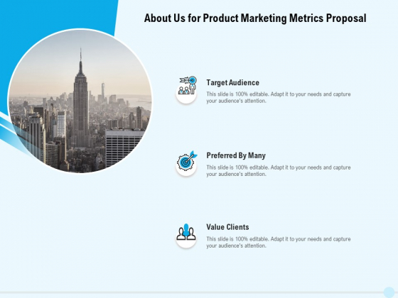 Business Commodity Market KPIS About Us For Product Marketing Metrics Proposal Template PDF