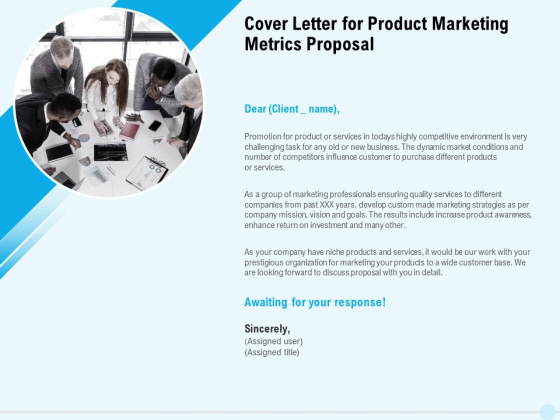 Business Commodity Market KPIS Cover Letter For Product Marketing Metrics Proposal Guidelines PDF