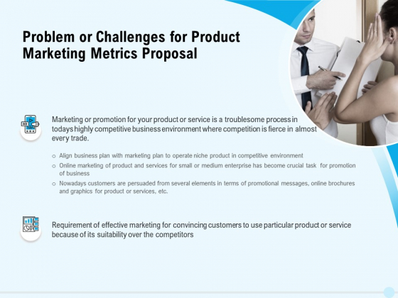 Business Commodity Market KPIS Problem Or Challenges For Product Marketing Metrics Proposal Structure PDF