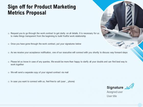 Business Commodity Market KPIS Sign Off For Product Marketing Metrics Proposal Background PDF