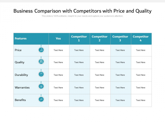Business Comparison With Competitors With Price And Quality Ppt PowerPoint Presentation Outline Clipart Images PDF
