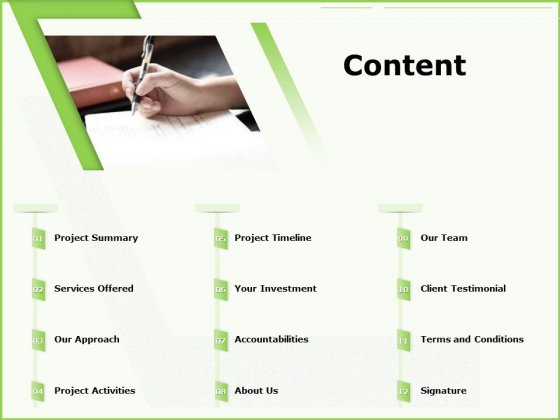 Business Consulting Proposal Content Content Ppt Styles Summary PDF