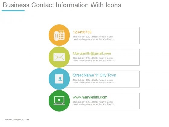 template for contact information