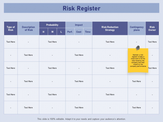 Business Contingency Planning Risk Register Ppt PowerPoint Presentation Outline Themes PDF
