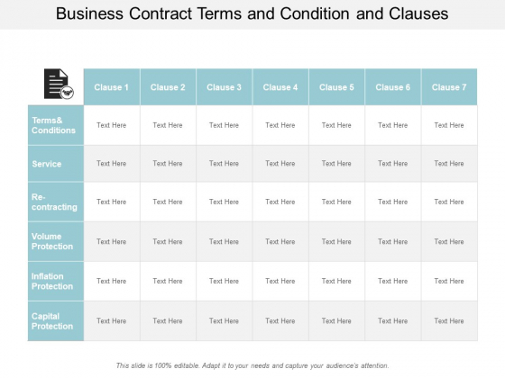 Business Contract Terms And Condition And Clauses Ppt Powerpoint Presentation Inspiration Ideas