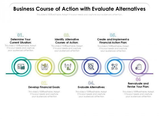 Business Course Of Action With Evaluate Alternatives Ppt PowerPoint Presentation File Summary PDF