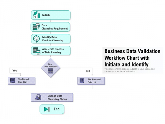 Business Data Validation Workflow Chart With Initiate And Identify Ppt PowerPoint Presentation Portfolio Graphics Download PDF