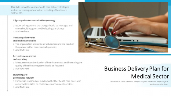 Business Delivery Plan For Medical Sector Ppt PowerPoint Presentation Gallery Influencers PDF