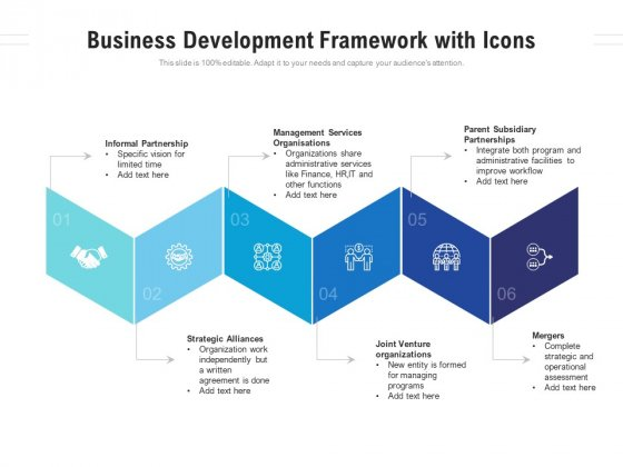 Business Development Framework With Icons Ppt PowerPoint Presentation Visual Aids Show PDF