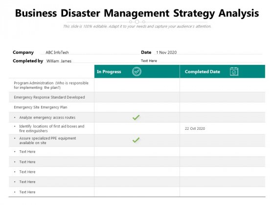 Business Disaster Management Strategy Analysis Ppt PowerPoint Presentation Gallery Graphics Tutorials PDF