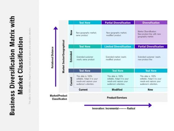 Business Diversification Matrix With Market Classification Ppt PowerPoint Presentation Infographics Ideas