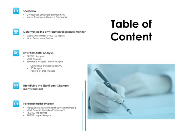 Business Environment Components Table Of Content Ppt Slides Ideas PDF