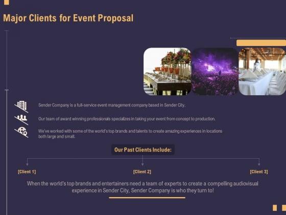 Business Event Planning Major Clients For Event Proposal Ppt Ideas Design Inspiration PDF
