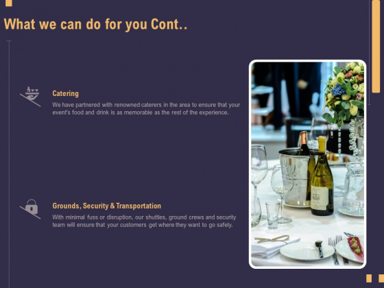Business Event Planning What We Can Do For You Cont Ppt File Deck PDF