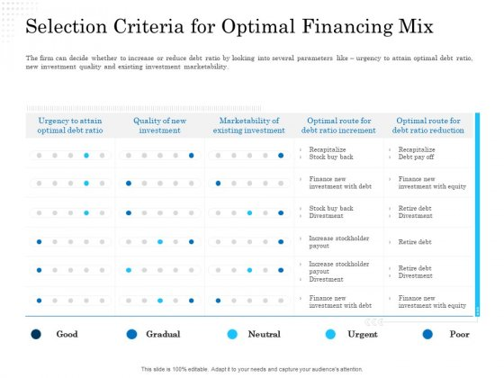 Business Finance Options Debt Vs Equity Selection Criteria For Optimal Financing Mix Graphics PDF