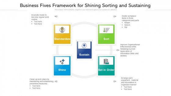 Business Fives Framework For Shining Sorting And Sustaining Ppt Slides Example File PDF