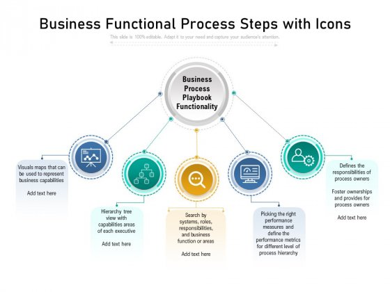 Business Functional Process Steps With Icons Ppt PowerPoint Presentation File Files PDF