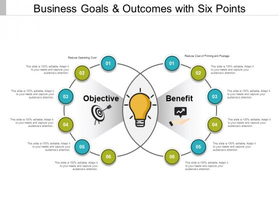 Business Goals And Outcomes With Six Points Ppt PowerPoint Presentation File Templates