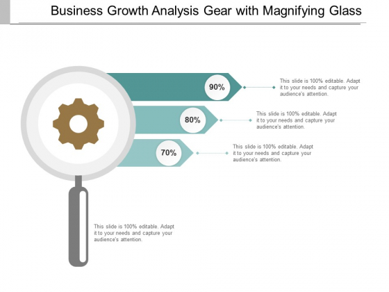 Business Growth Analysis Gear With Magnifying Glass Ppt PowerPoint Presentation Portfolio Graphics