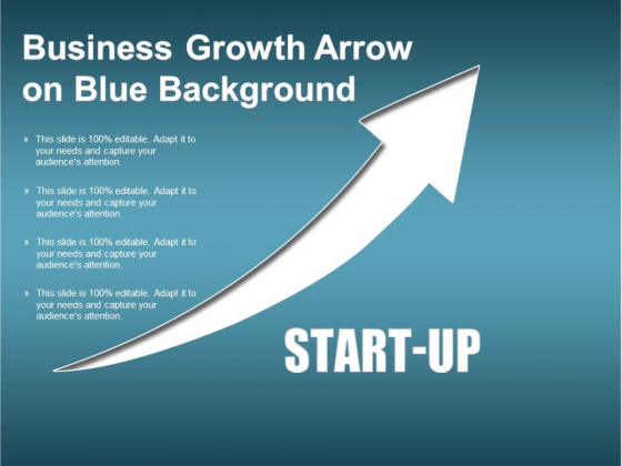 Business Growth Arrow On Blue Background Ppt PowerPoint Presentation Infographics Graphics Pictures