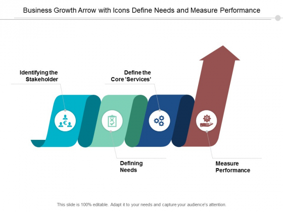 Business Growth Arrow With Icons Define Needs And Measure Performance Ppt Powerpoint Presentation Inspiration Introduction