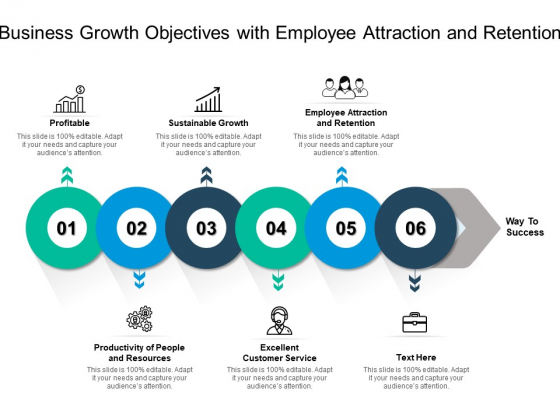 Business Growth Objectives With Employee Attraction And Retention Ppt PowerPoint Presentation Infographics Graphics Template PDF