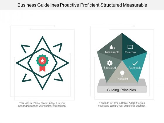 Business Guidelines Proactive Proficient Structured Measurable Ppt PowerPoint Presentation Infographics Mockup
