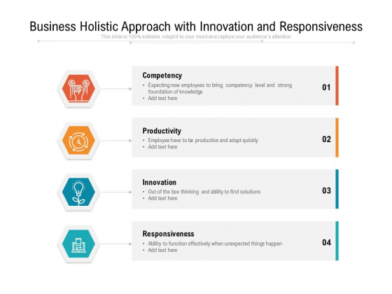 Business Holistic Approach With Innovation And Responsiveness Ppt PowerPoint Presentation Gallery Maker PDF