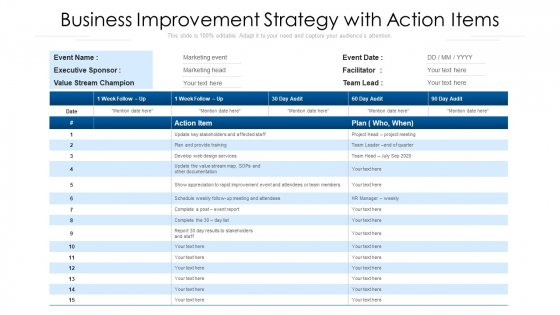 Business Improvement Strategy With Action Items Ppt Deck PDF