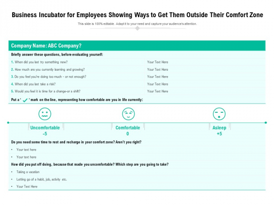 Business Incubator For Employees Showing Ways To Get Them Outside Their Comfort Zone Ppt PowerPoint Presentation Layouts Layout Ideas PDF