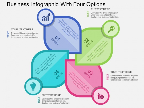 Business Infographic With Four Options Powerpoint Templates