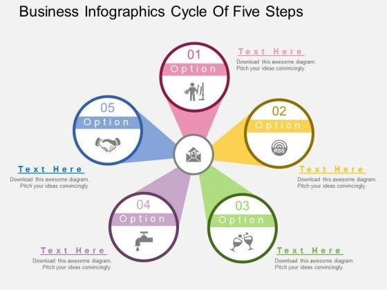 Business Infographics Cycle Of Five Steps Powerpoint Template