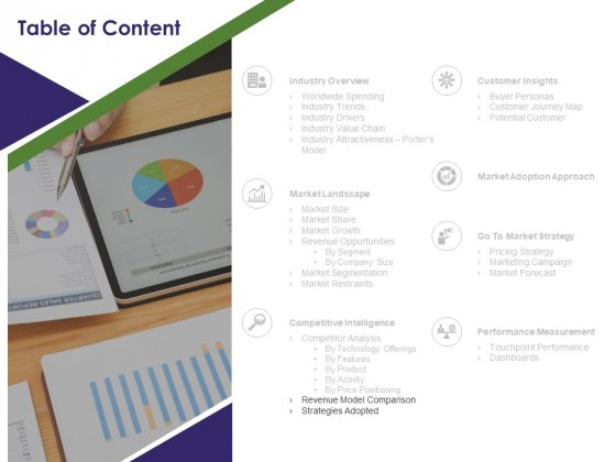 Business Intelligence Report Table Of Content Revenue Ppt Pictures Graphic Tips PDF