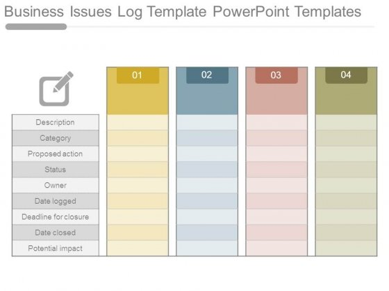 Business Issues Log Template Powerpoint Templates - Powerpoint