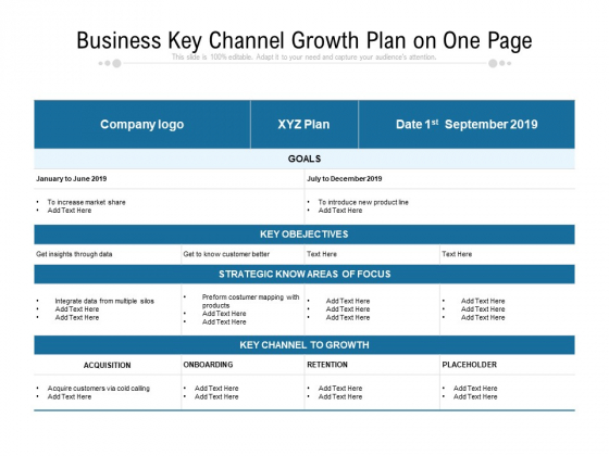 Business Key Channel Growth Plan On One Page Ppt PowerPoint Presentation Gallery Graphics Template PDF