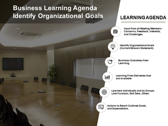 Business Learning Agenda Identify Organizational Goals Ppt PowerPoint Presentation Professional Outfit