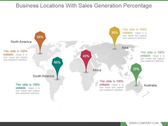 Business Locations With Sales Generation Percentage Good Ppt Example