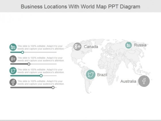 Business Locations With World Map Ppt PowerPoint Presentation Design Ideas