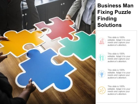 Business Man Fixing Puzzle Finding Solutions Ppt PowerPoint Presentation Portfolio Slides